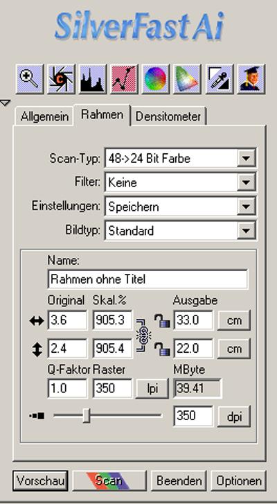 Die Abbildung zeigt das Scan-Menü der Software Silverfast
