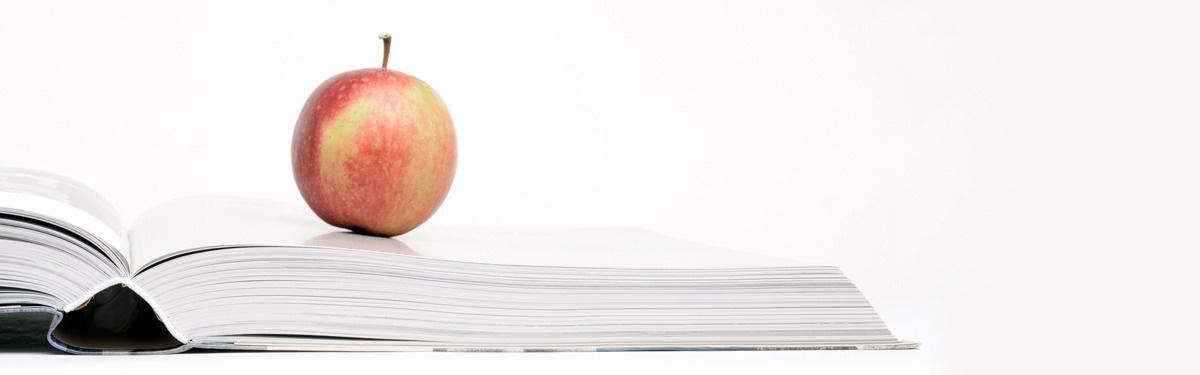 Das Foto zeigt einen Apfel auf einem aufgeschlagenen Buch neben einer Kamera liegend.