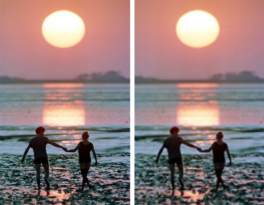 Die Abbildung zeigt einen Sonnenuntergang: links richtig aufgelöst, rechts zu gering aufgelöst