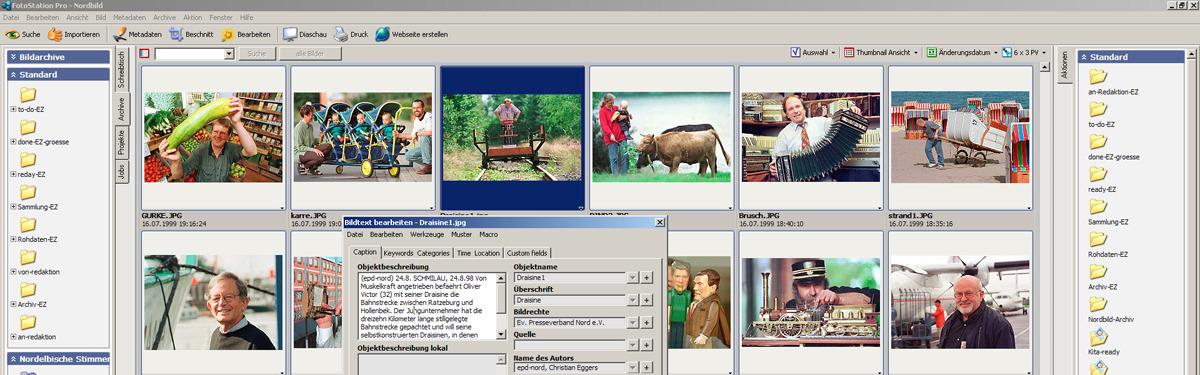 Das Foto zeigt kleine Fotos, die mit dem Bildverwaltungsprogramm FotoStation angezeigt werden.